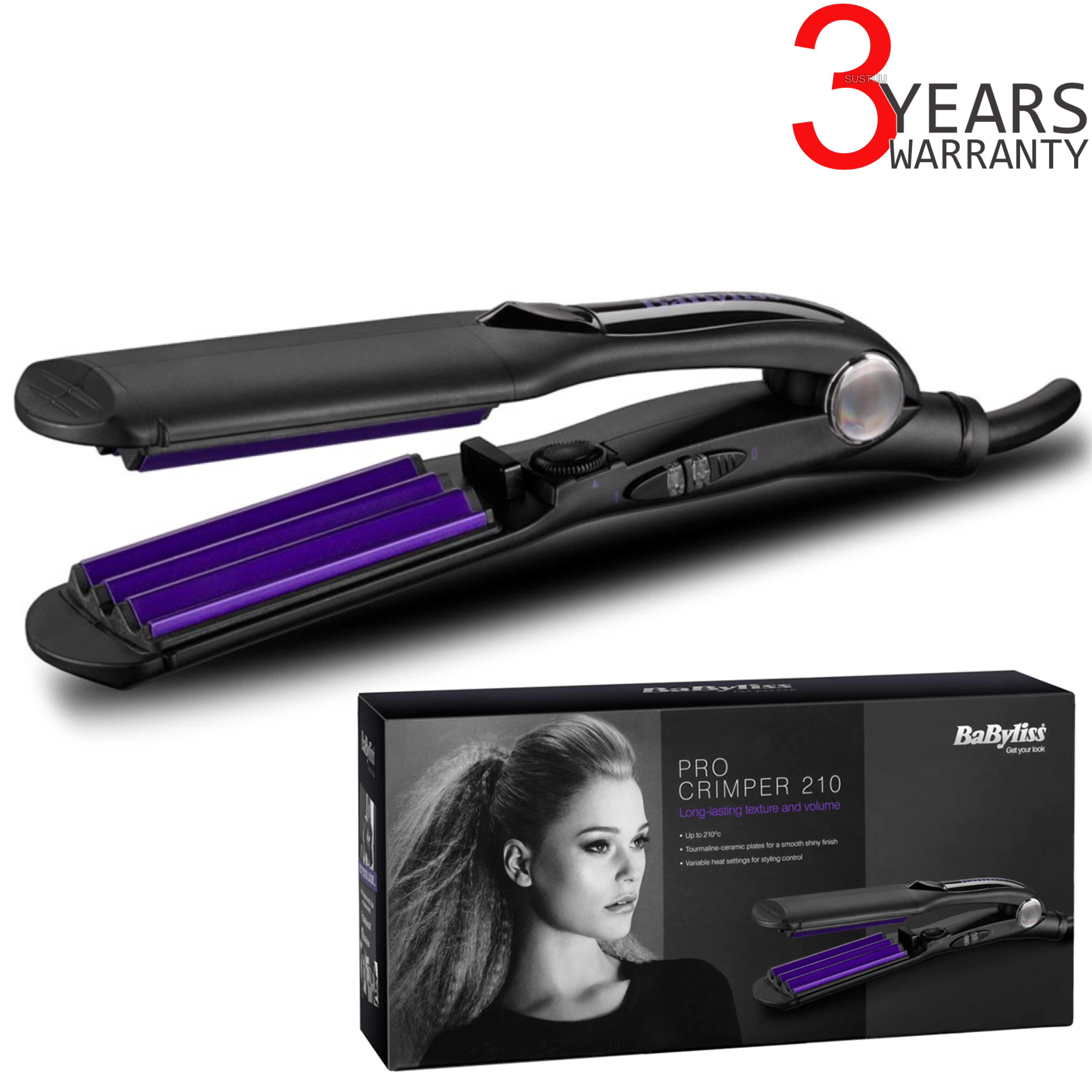 Babyliss 2165BU Pro Crimper 210 | Tourmaline Ceramic Cripms Plates | 4 Heat Settings