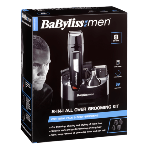 BaByliss 7056CU Rechargeable 8-in-1 All Over Grooming Shaver Clipper Kit for Men Thumbnail 4
