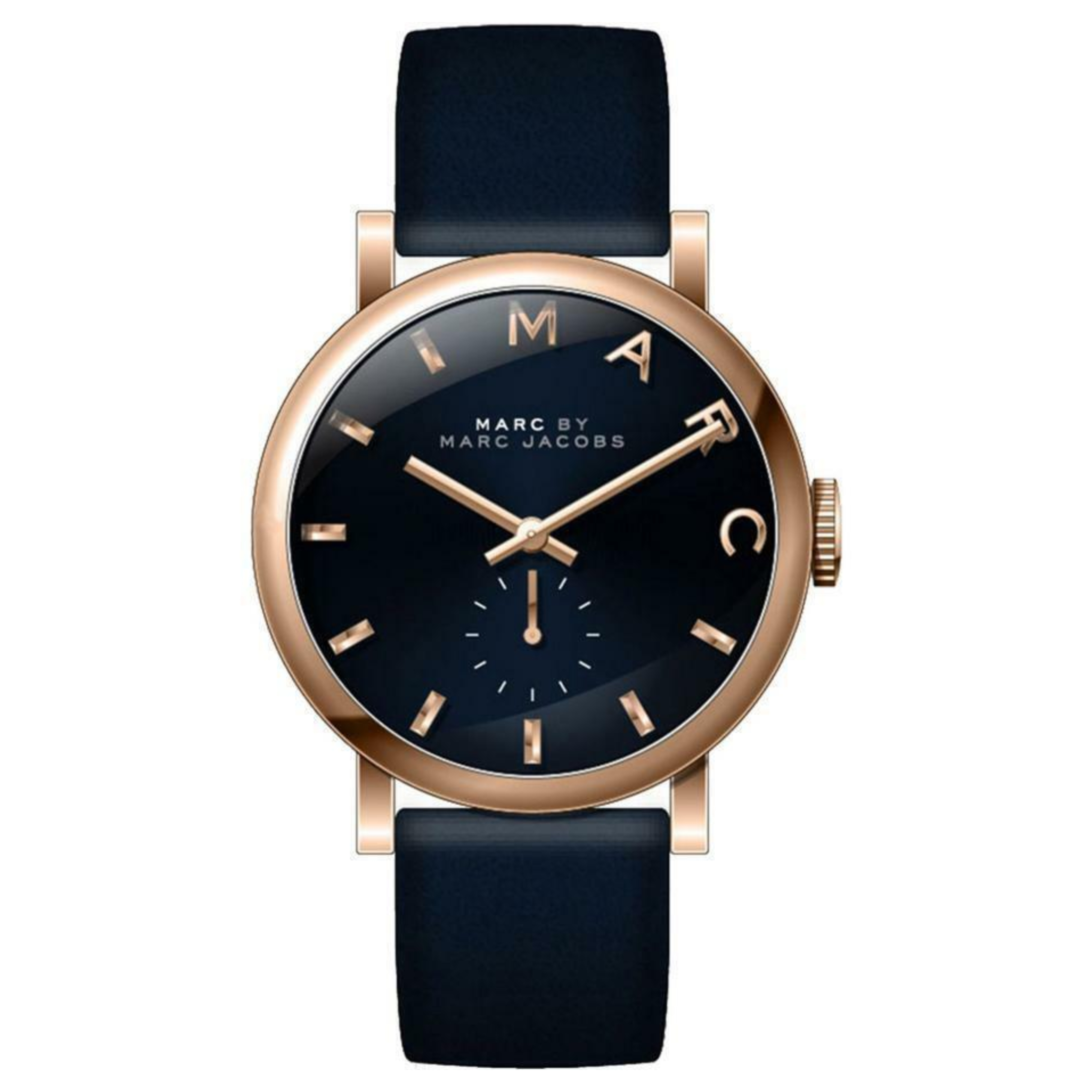 Marc Jacobs Baker Ladies Watch Rose Gold Case Blue Dial Leather
