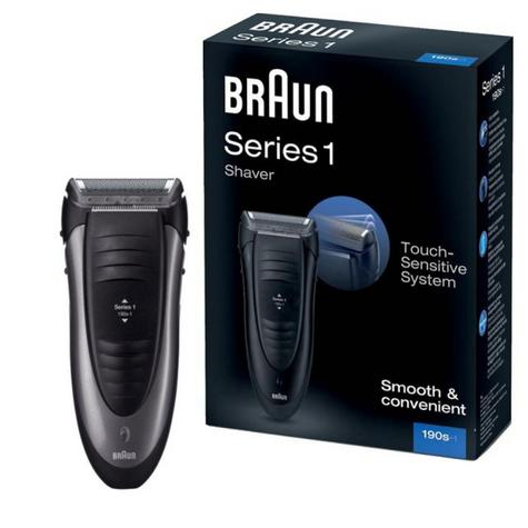 Braun 190s Series 1 Mains Rechargeable SmartFoil Precision Shaver Trimmer -Black Thumbnail 1