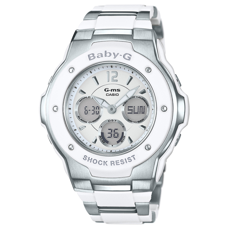 Casio MSG300C-7B3ER Baby-G Digital Chronograph Watch|Shock & Water Resist|White|