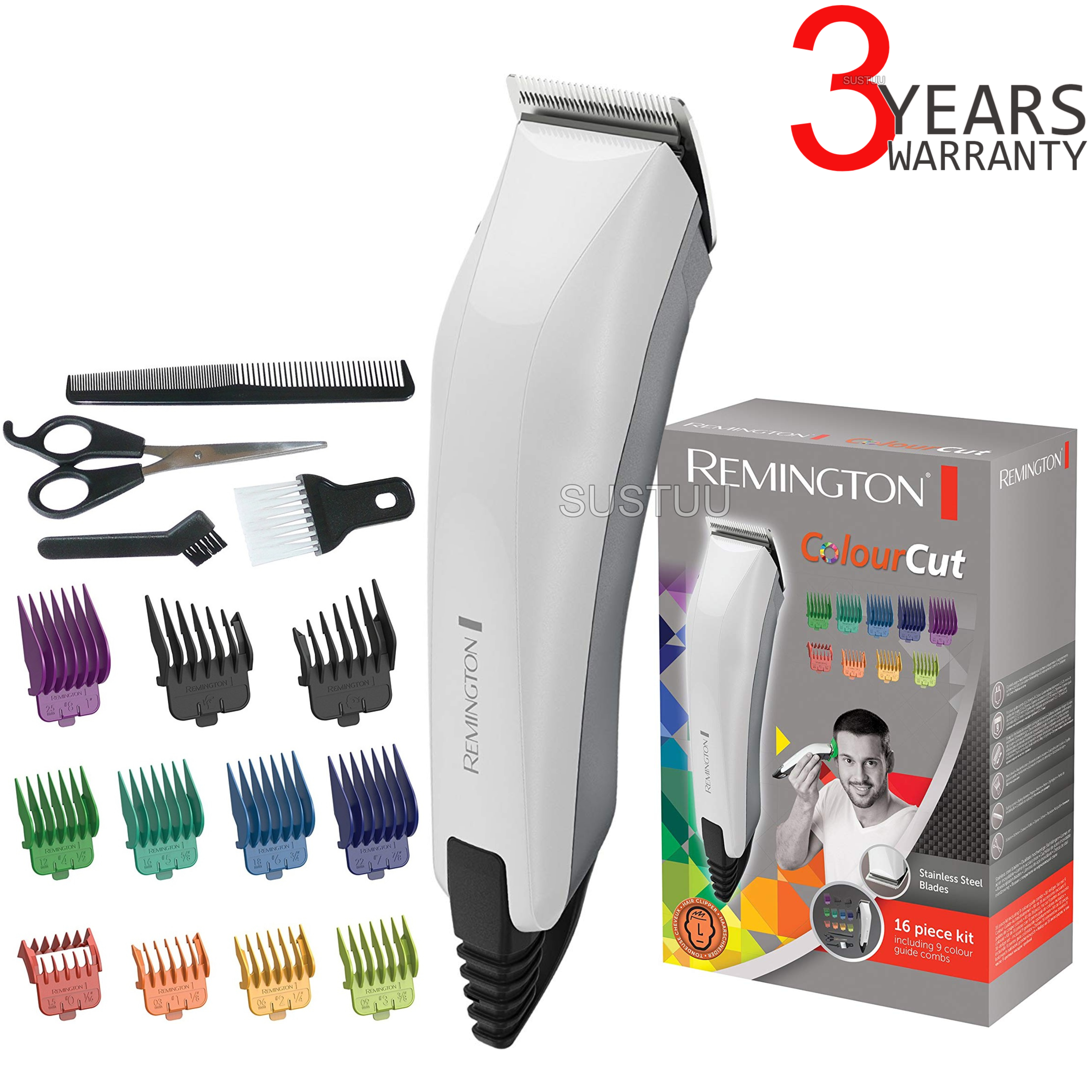 Remington HC5035 16pc Colour Cut Corded Hair Grooming Kit   Clipper & Shaver   NEW