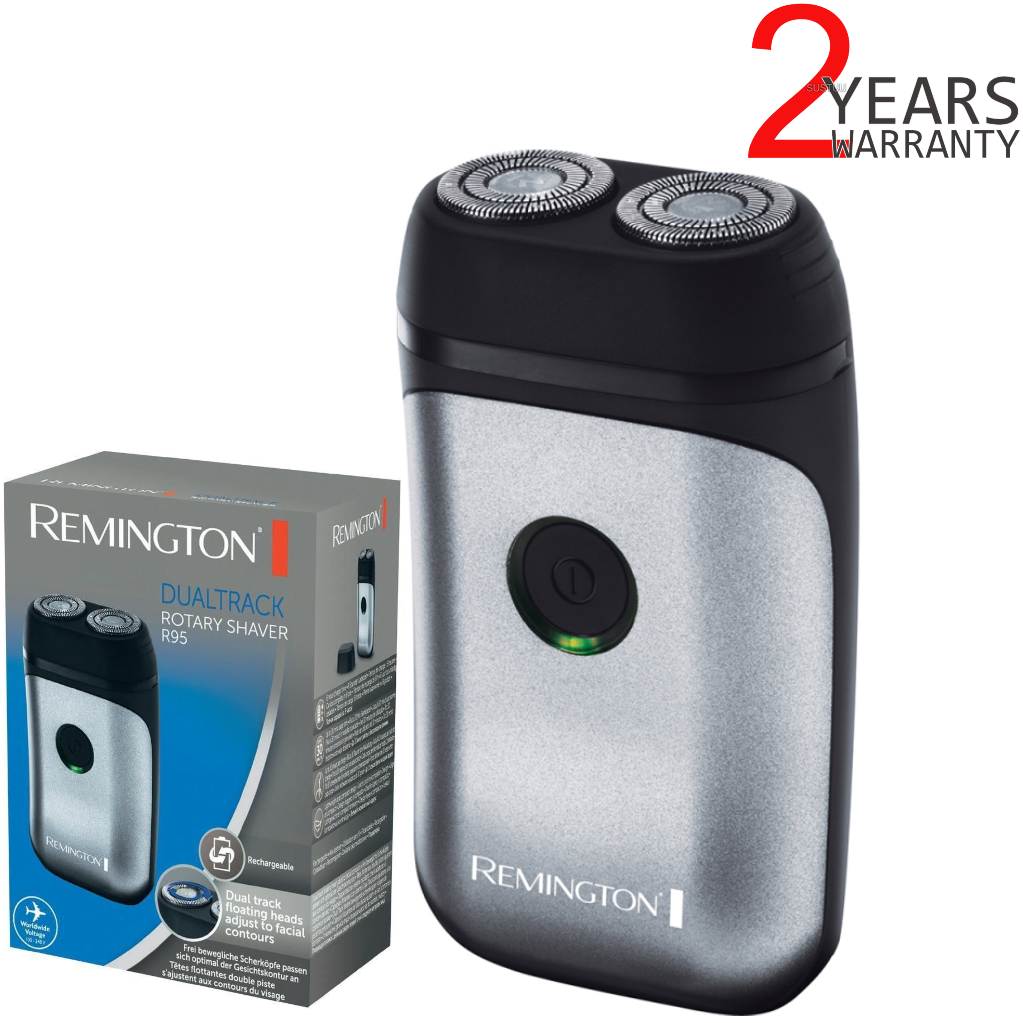 Remington R95 Dual Track Rotary Rechargeable Mini Electric Men's Shaver | Compact