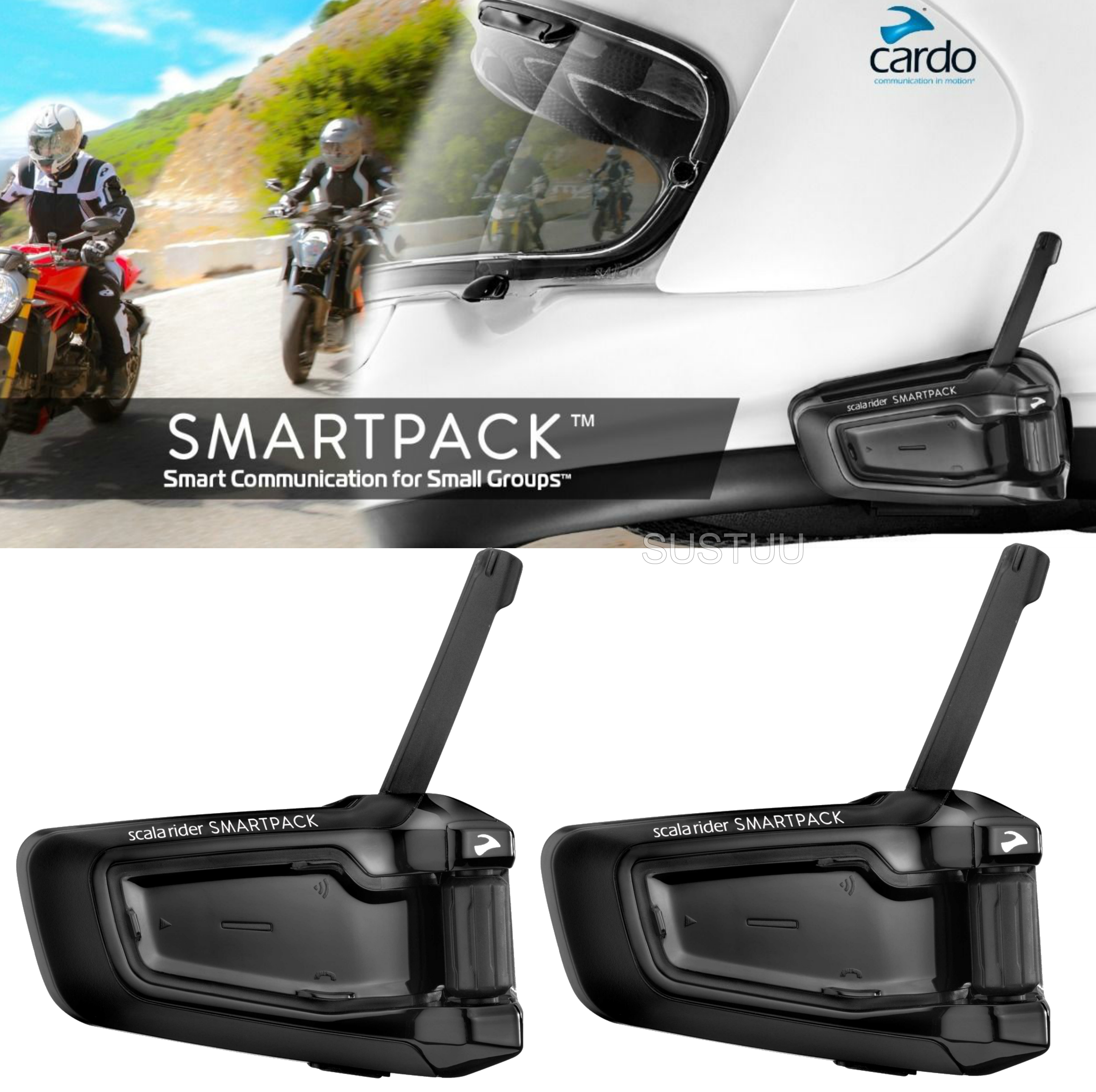 Cardo Scala Rider SmartPack Duo Bluetooth Headset | Motorcycle Helmet Intercom | Black