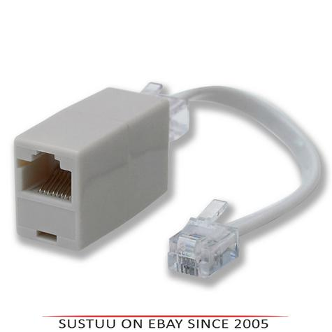 Phonapart BK4509PG  RJ11 Plug to RJ45 Socket Line Telephone Adaptor - White Thumbnail 1