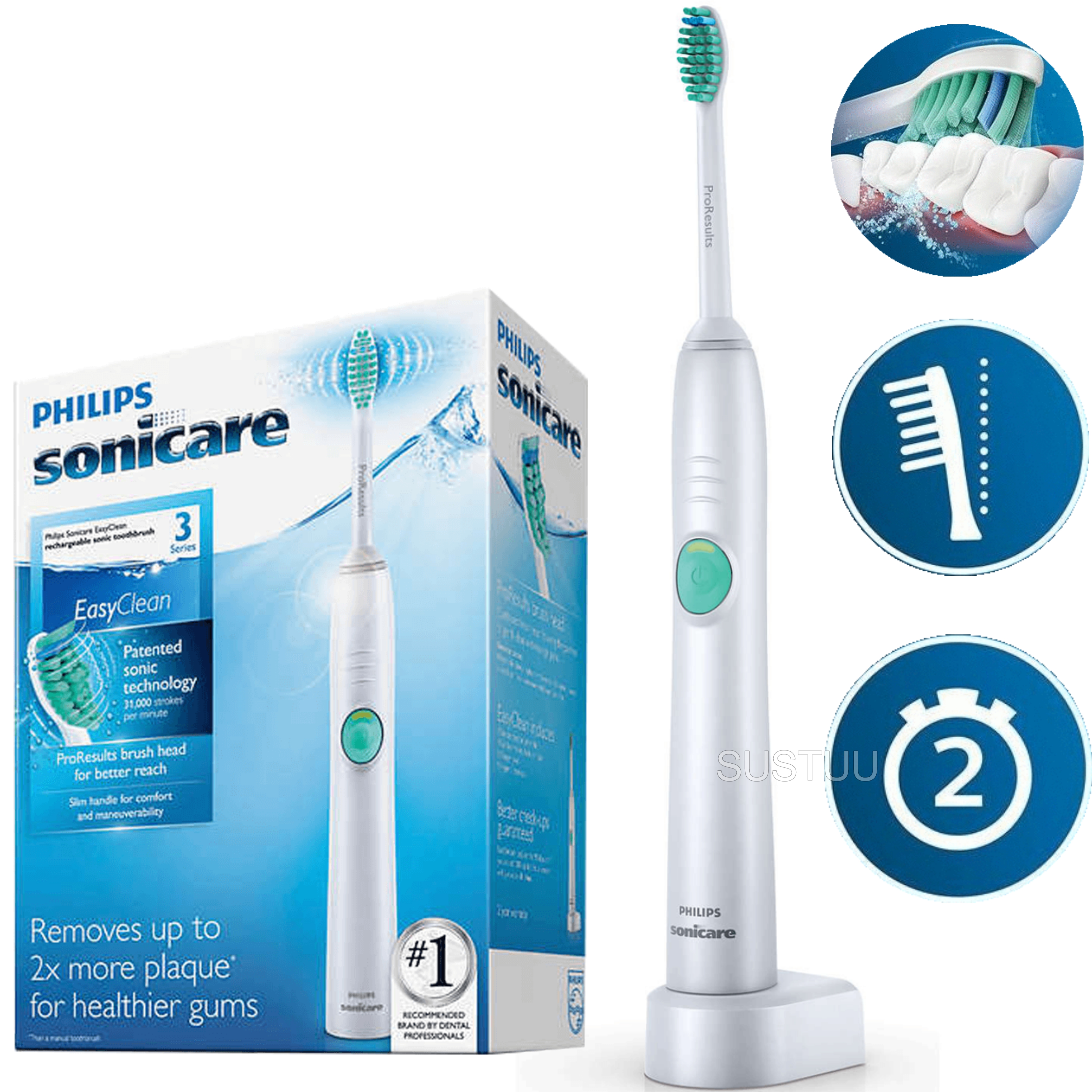 Philips Sonicare Easyclean Electric Rechargeable Toothbrush | Quadpacer-SmartTimer