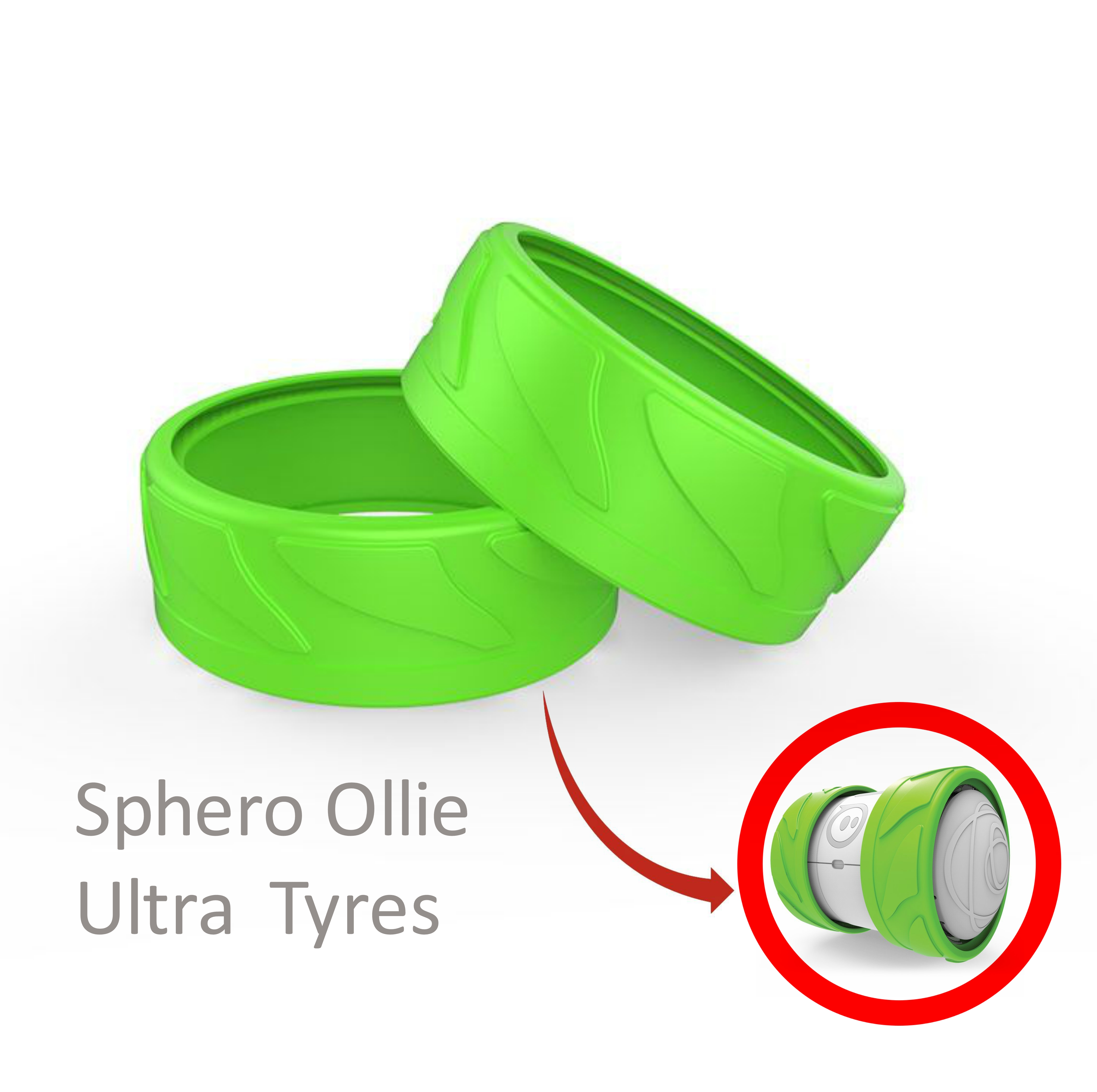 Sphero AUT01GR1 Ollie Ultra Tyres On Off Road Performance Boldest Colours- Green