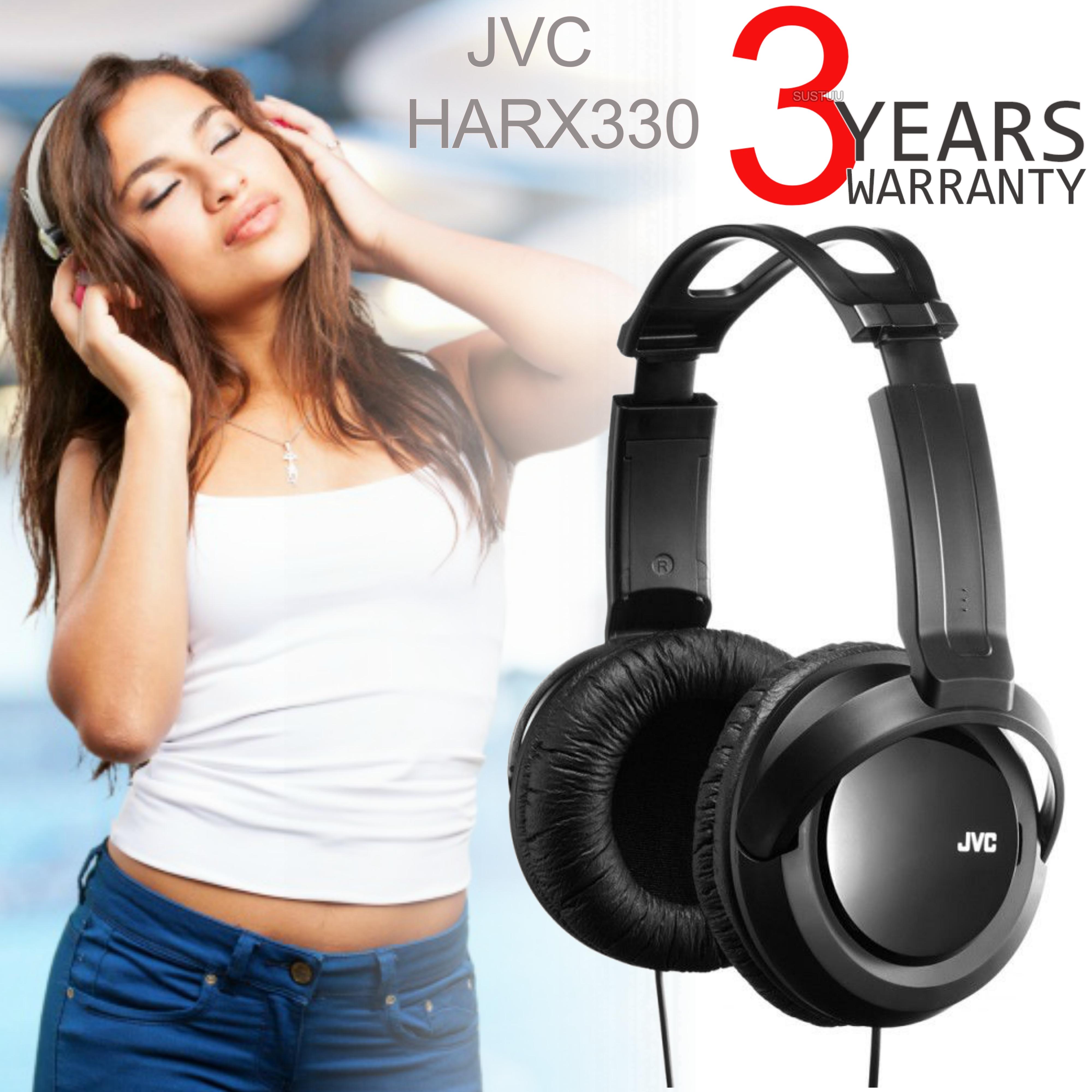 JVC HARX330 | Full-Size Over-Ear DJ Stereo Headphone | Deep Bass Sound | 2.5m Cord | Black