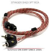 NEW Stinger SI423 3ft 0.9m 2 Channel Car RCA Amp Cable Lead Connector