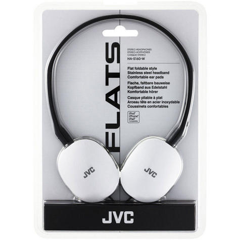 JVC Flats Foldable Style Stereo Headphones - White for Android/Ios HAS160W Thumbnail 2