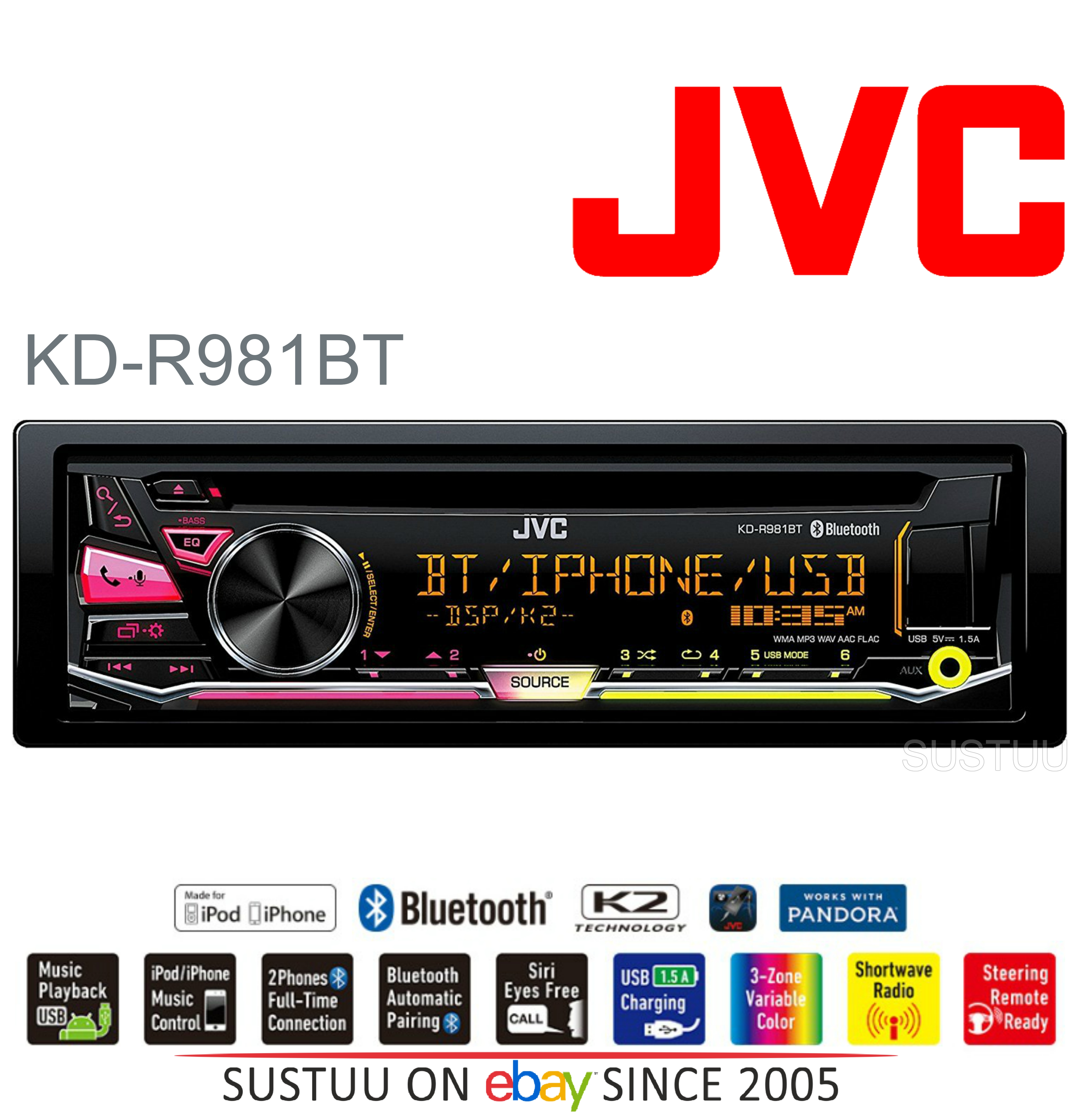 JVC Car Stereo Radio?CD?MP3?WMA?Bluetooth?USB?AUX
