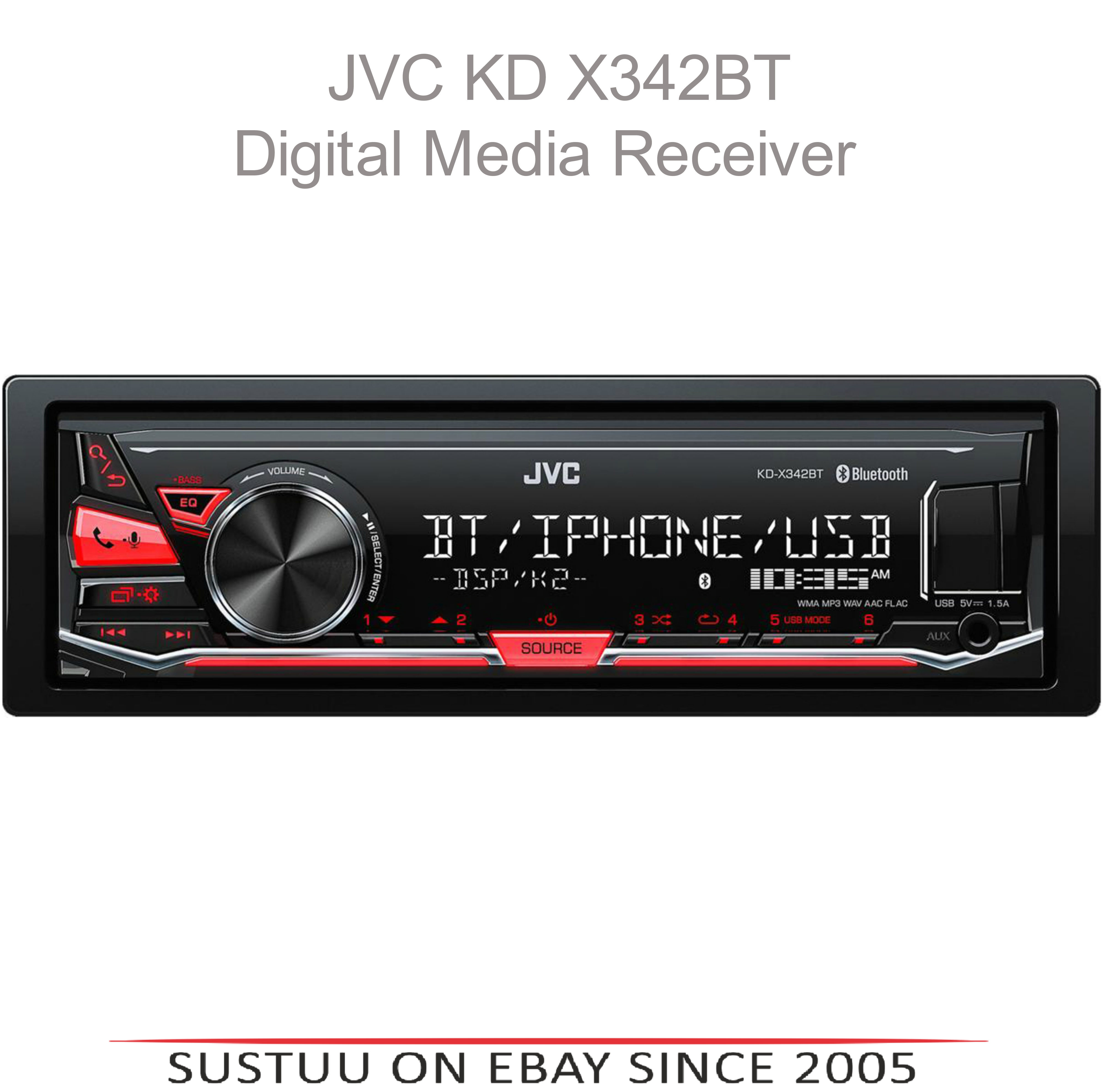 JVC KD X342BT Bluetooth/Aux/Usb/iphone/Android Red Display Mechless Car Stereo