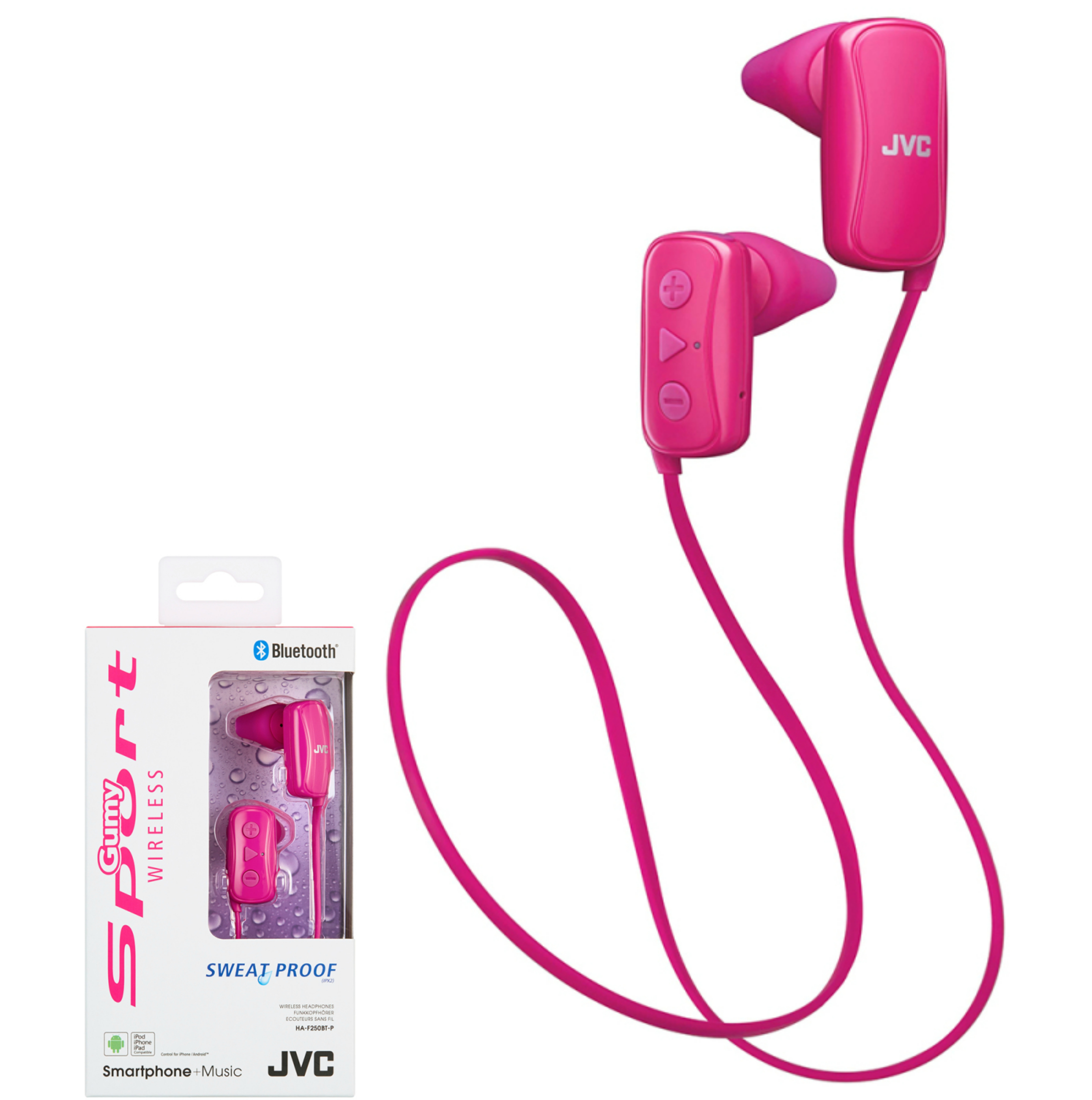 JVC HAF250BTPE Gumy Sports Bluetooth Headphones|9.0mm |In Ear|Android/Ios|Pink|