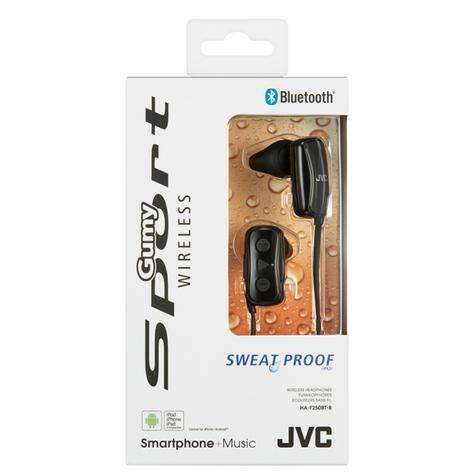 JVC HAF250BTBE Gumy Sports Bluetooth Headphones|9.0mm |In Ear|Android/Ios|Black| Thumbnail 3