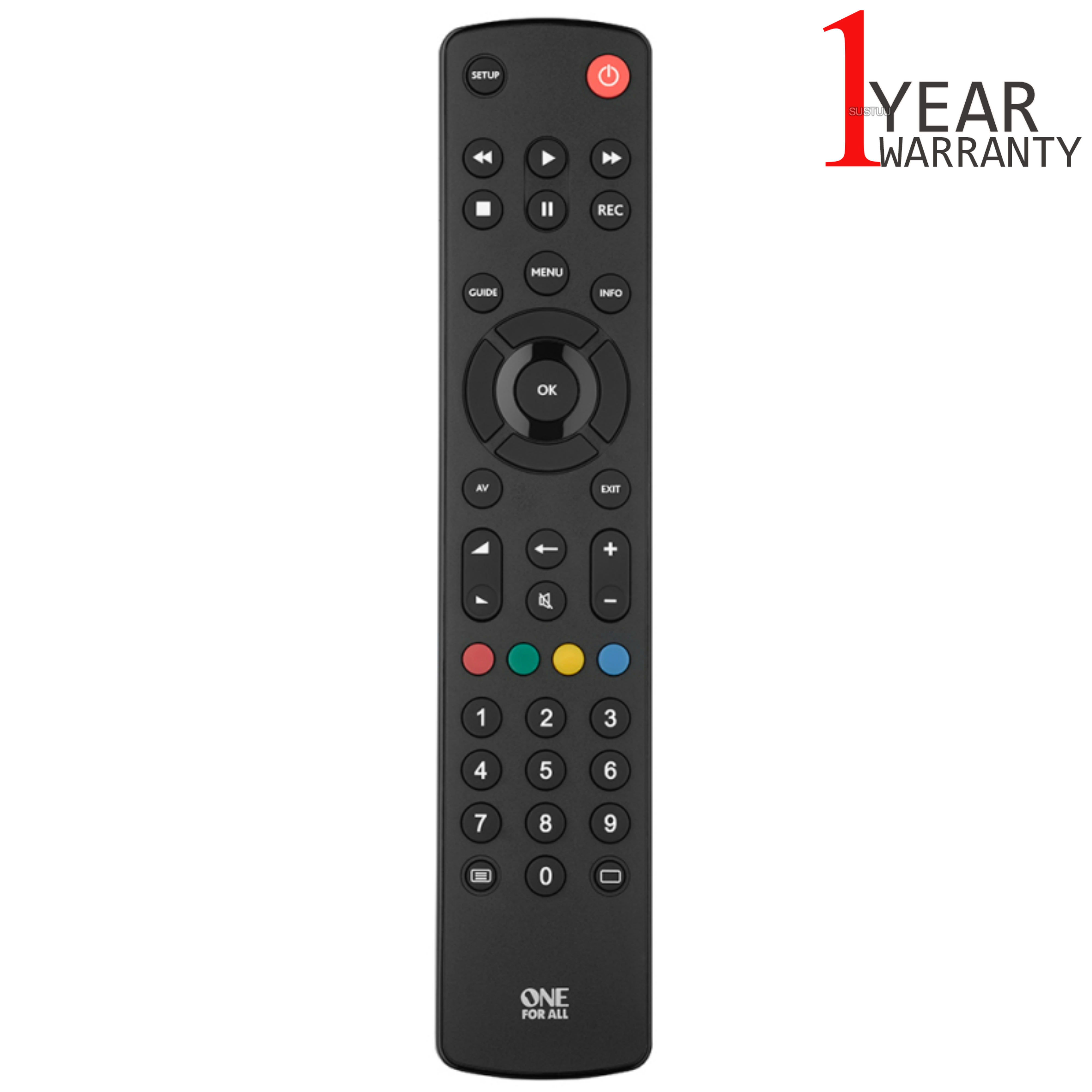 One For All Contour Universal Remote Control For TV | Easy Setup | Black | URC1210 | NEW