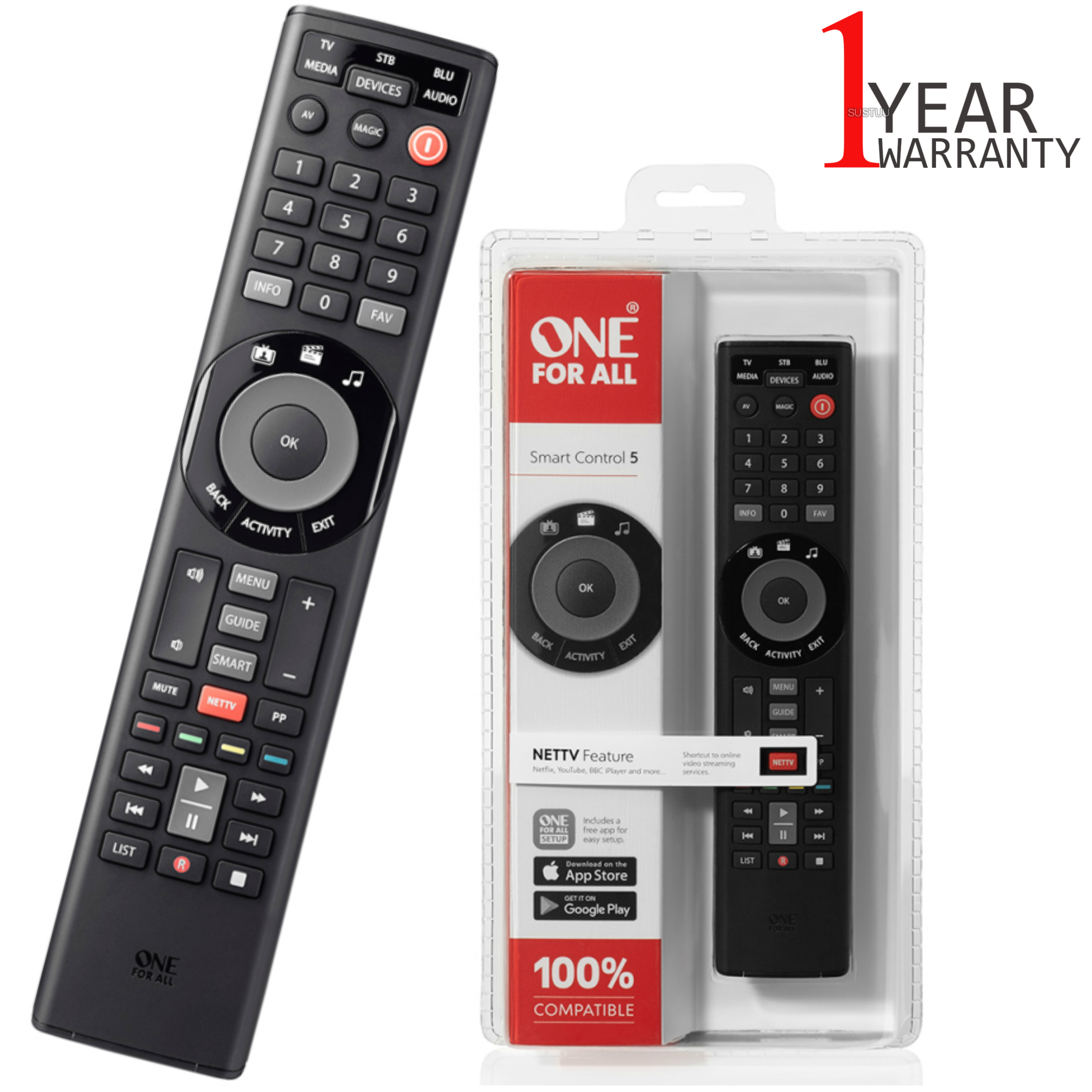 One For All Universal Remote Smart Control | 5 Devices Control | Black | URC7955 | NEW