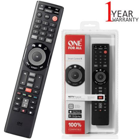 One For All Universal Remote Smart Control | 5 Devices Control | Black | URC7955 | NEW Thumbnail 1