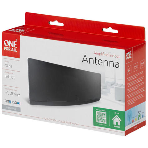 One For All SV9430 Amplified Full HD Curved Indoor Aerial Antenna|45dB|4G Filter Thumbnail 2