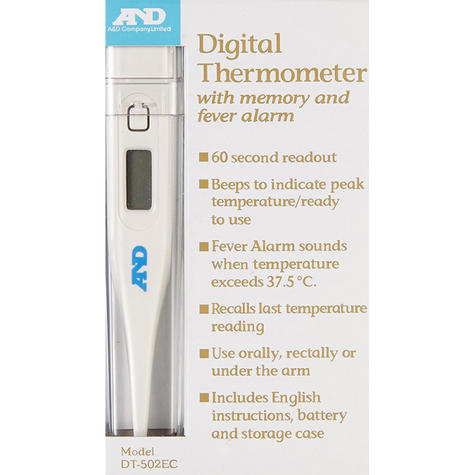 A&D Oral/Rectal/Under Arm Medical Digital Thermometer - Memory & Fever Alarm Thumbnail 2