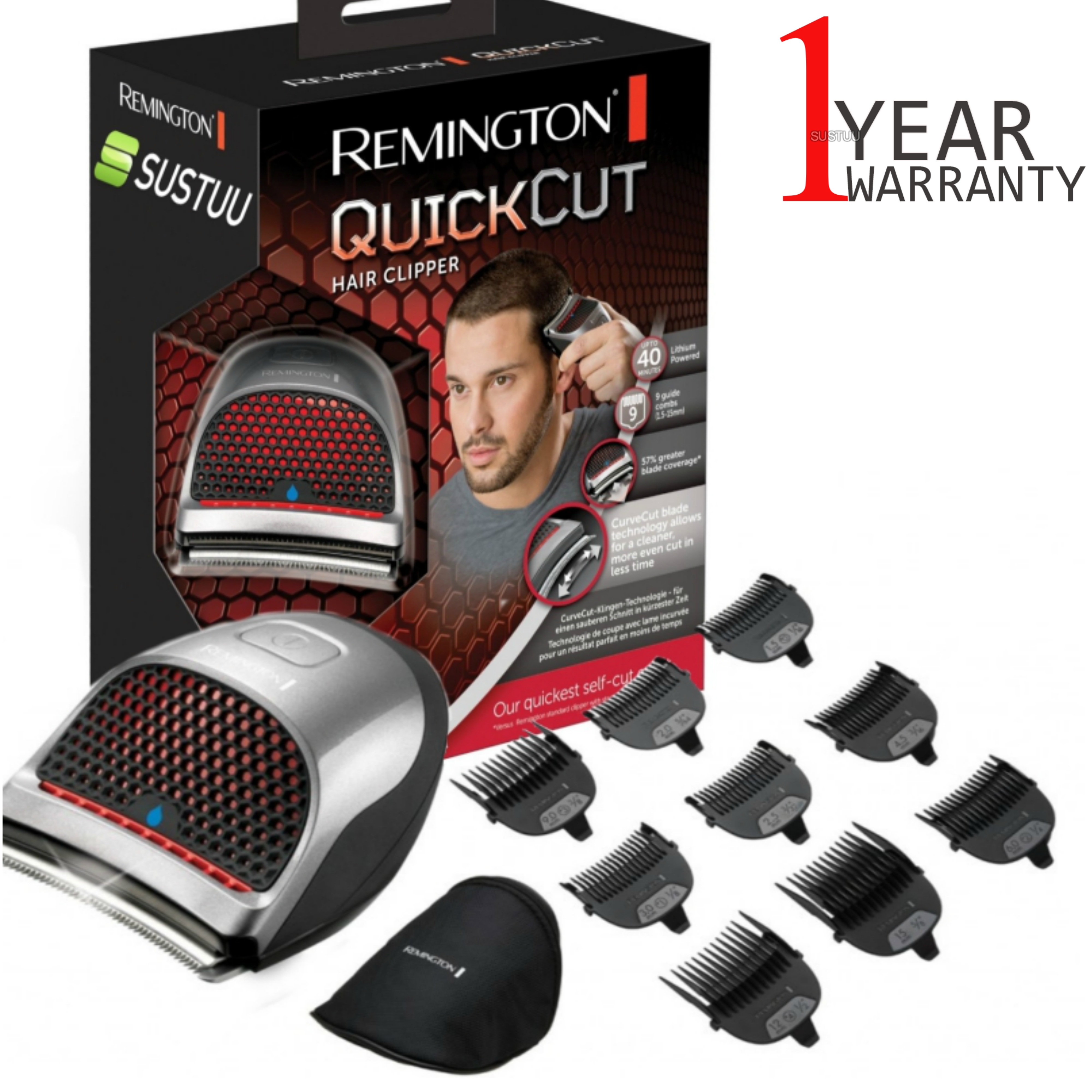 Remington HC4250 Quick Cut Mens Hair Clipper | Cord/Cordless | Fully Washable | Silver