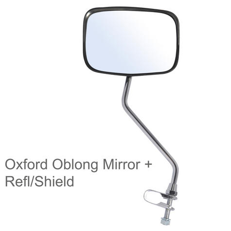 Oxford Bicycle Bike Cycle Deluxe Oblong Mirror + Refl/Shield | Fully Adjustable Thumbnail 1