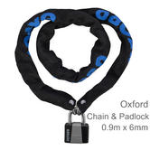Oxford Cycle/ Bicycle/ Bike Lock Chain & Padlock with 2 Keys - 900mm x 6mm | LK139
