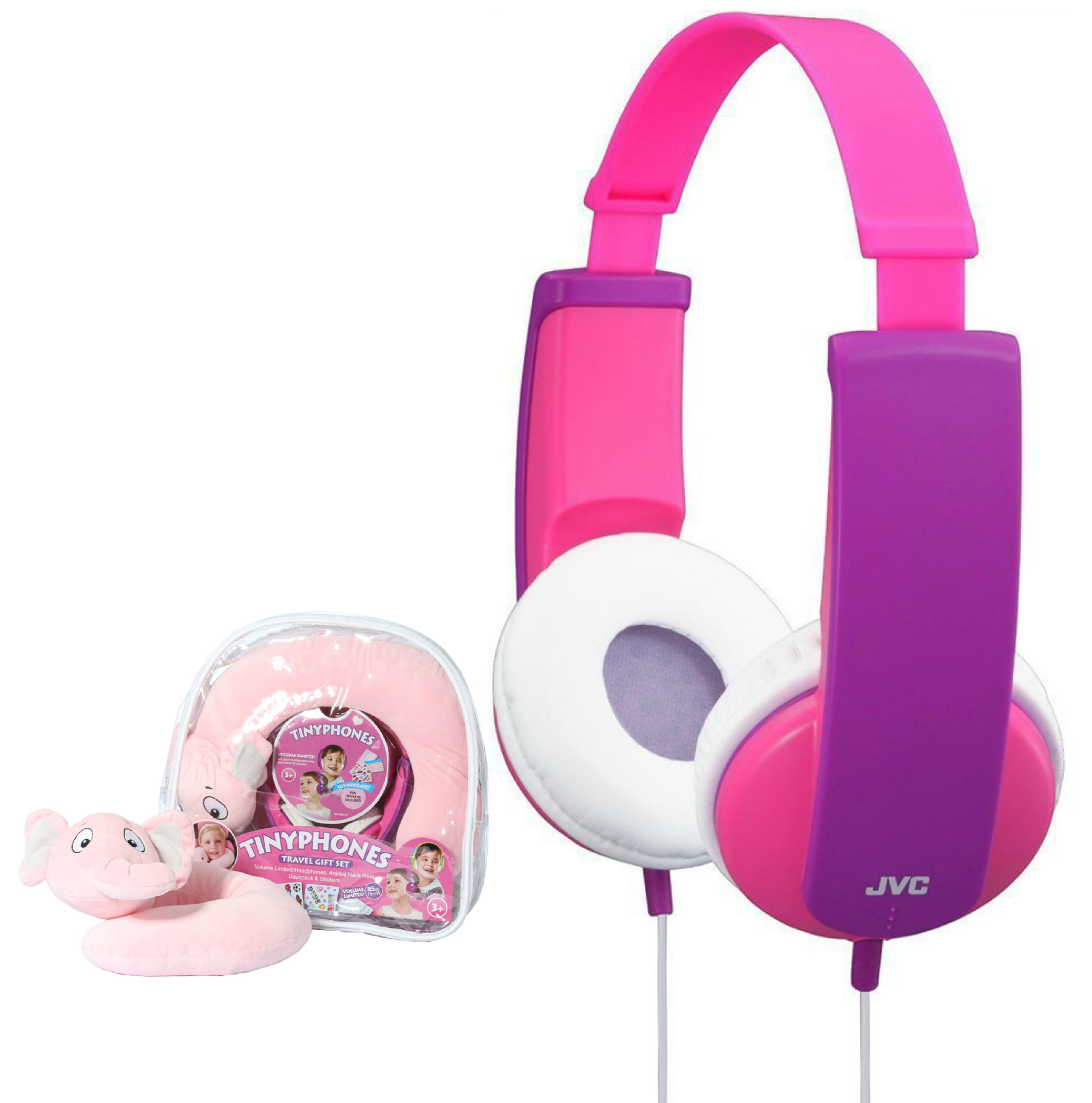 JVC HAKD5TRAV-P Tinyphone|Travel Gift Set|Headphone|Neck Pillow|Backpack|Sticker