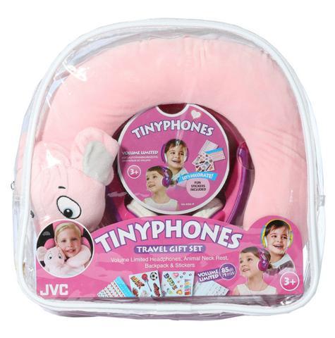 JVC HAKD5TRAV-P Tinyphone Travel Gift Set Headphone Neck Pillow Backpack Sticker Thumbnail 3