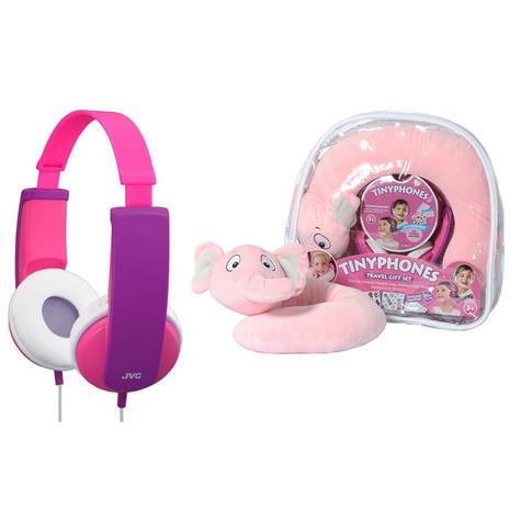JVC HAKD5TRAV-P Tinyphone Travel Gift Set Headphone Neck Pillow Backpack Sticker Thumbnail 5
