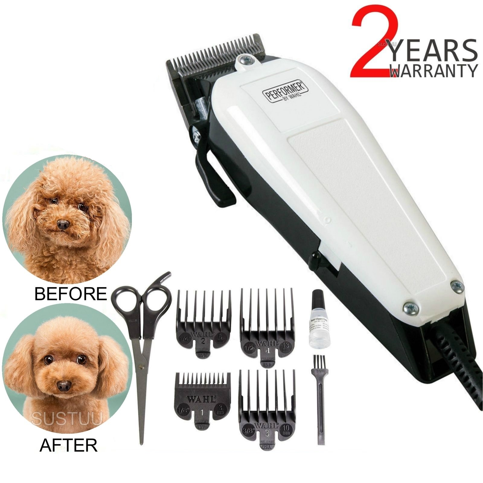 Wahl Performer Dog Animal Shaver Clipper Kit | 4xCombs | Carbon Steel Blades | Scissor