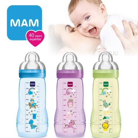 MAM Baby Milk Formula Feeding Spill Free with Lid Anti-Colic Infant Bottle 330ml Thumbnail 1