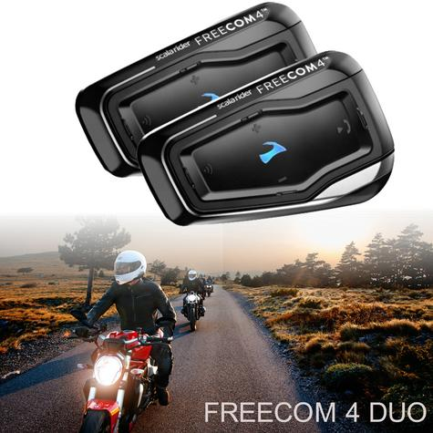 Cardo Scala Freecom 4 Duo Bluetooth Headset |  4 Way Motorcycle / Bike Helmet Intercom Thumbnail 1