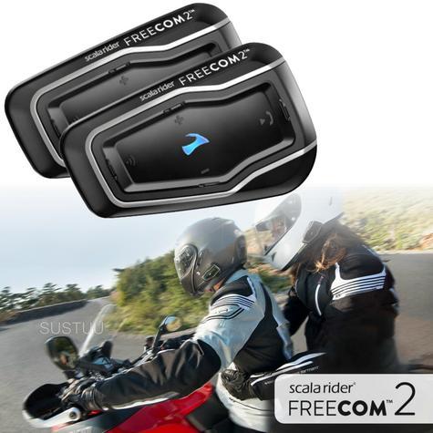 Cardo Scala Freecom 2 Duo Bluetooth Headset   Motorcycle / Bike Helmet Intercom   Black Thumbnail 1