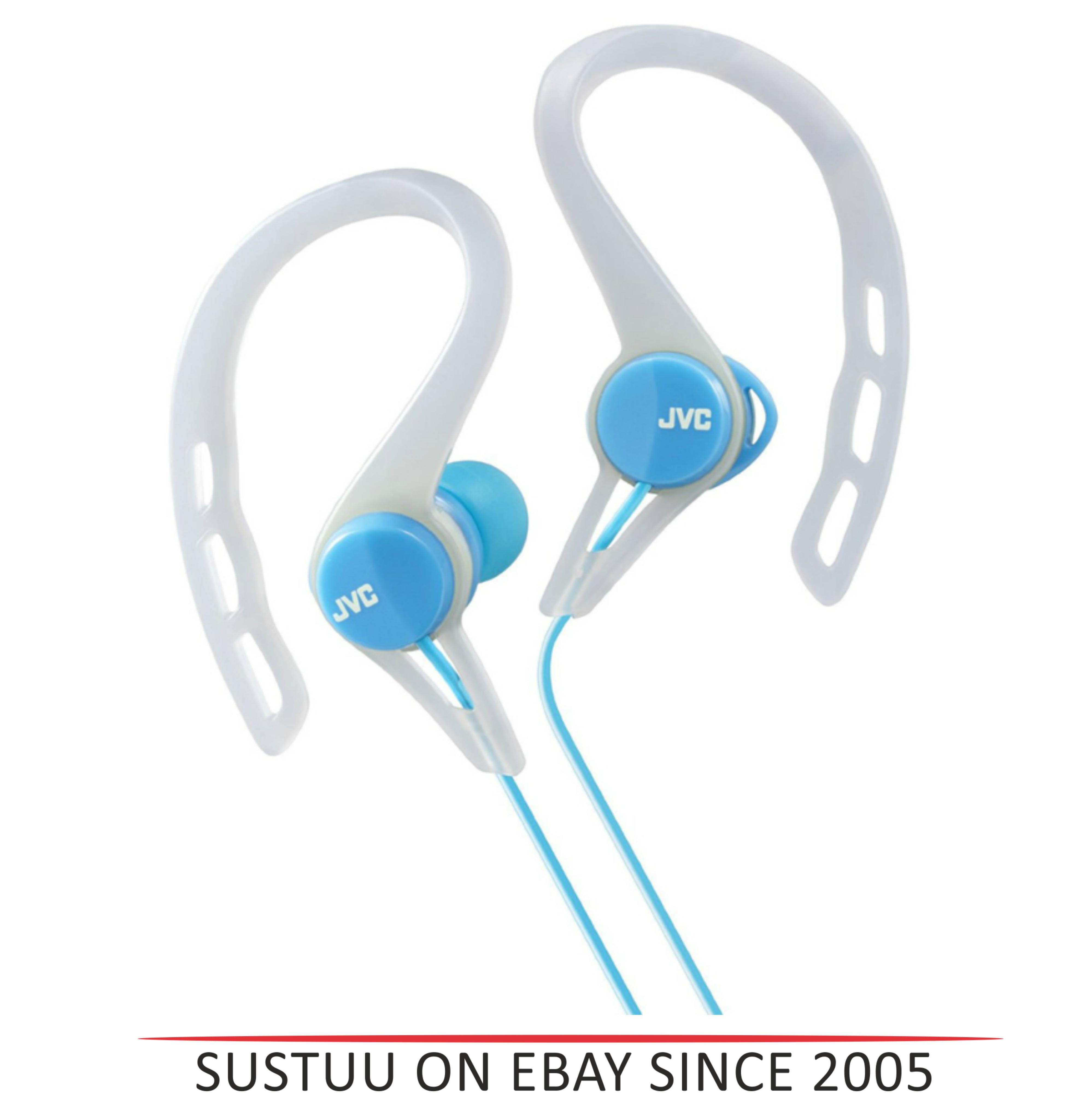 JVC HAECX20B In-Ear Pivot Motion Ear Clip Splash Proof Sports Headphones - Blue