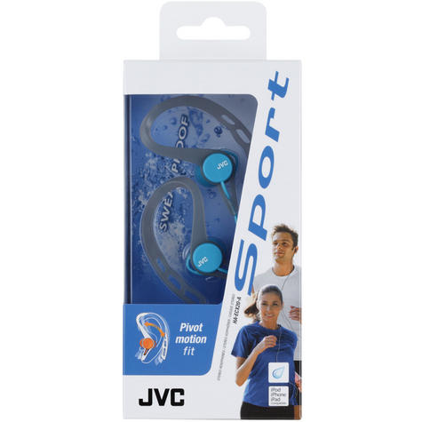 JVC HAECX20B In-Ear Pivot Motion Ear Clip Splash Proof Sports Headphones - Blue Thumbnail 3