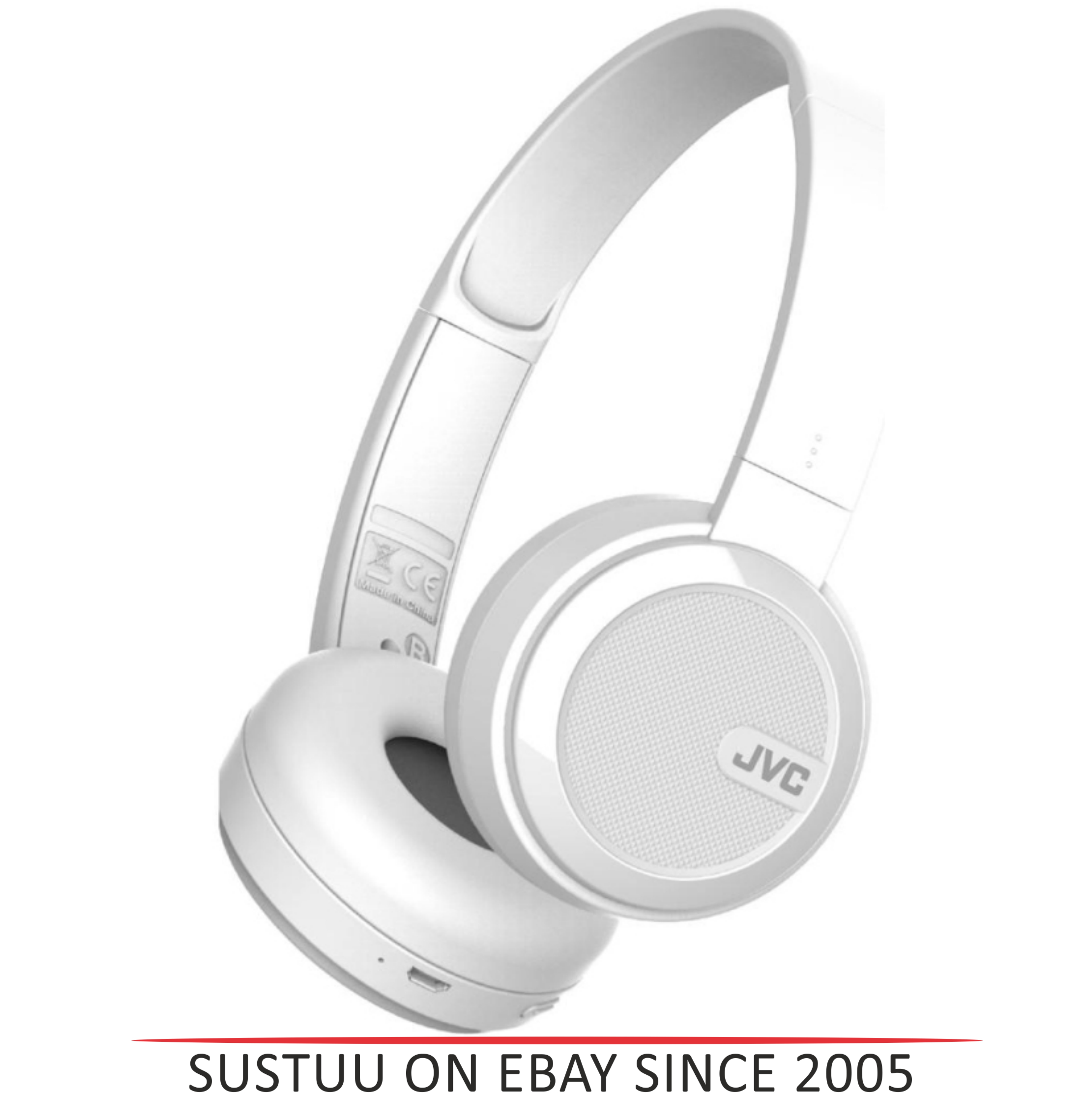 JVC HAS40BTWE Foldable Headphones /  Wireless Bluetooth /  Rechargable / - White