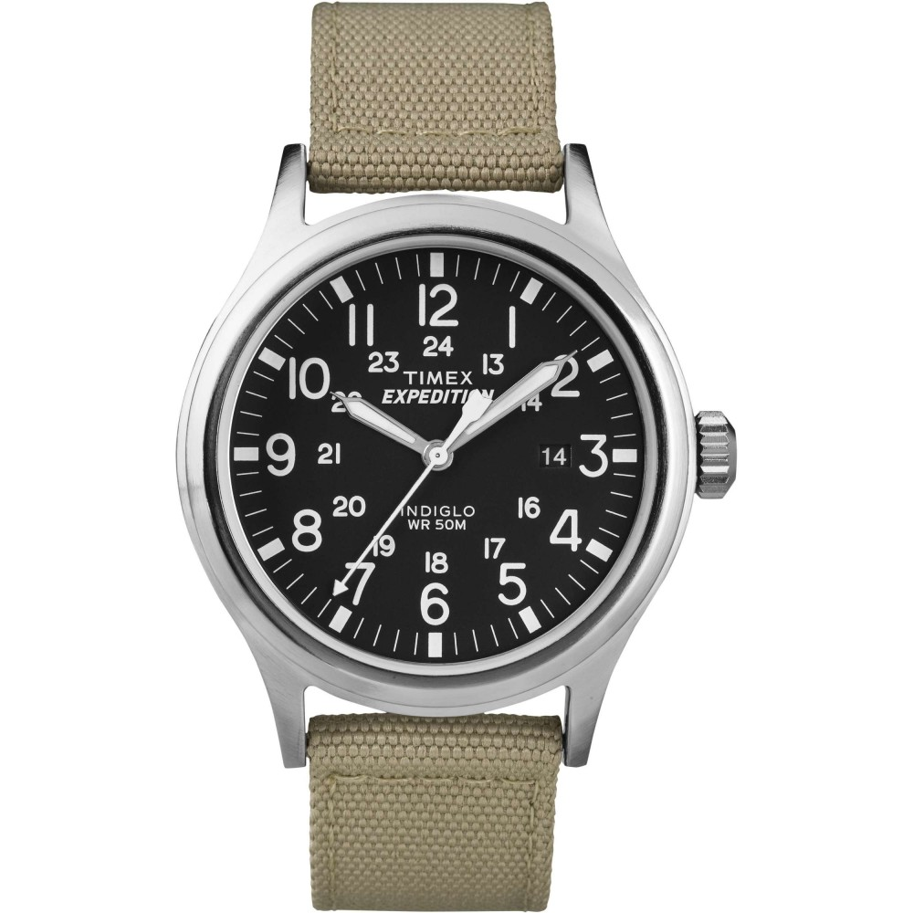 Timex T49962 Mens Expedition Watch|Indiglo Night Light|Date|Nylon strap - Beige
