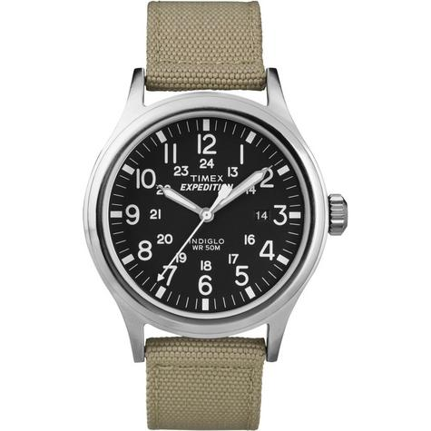 Timex T49962 Mens Expedition Watch|Indiglo Night Light|Date|Nylon strap - Beige Thumbnail 1