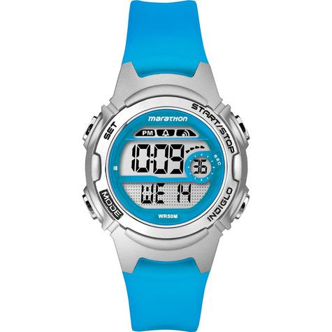 Timex TW5K96900 Childrens Marathon Watch|Blue Resin Rubber Strap|Chronograph|NEW Thumbnail 1