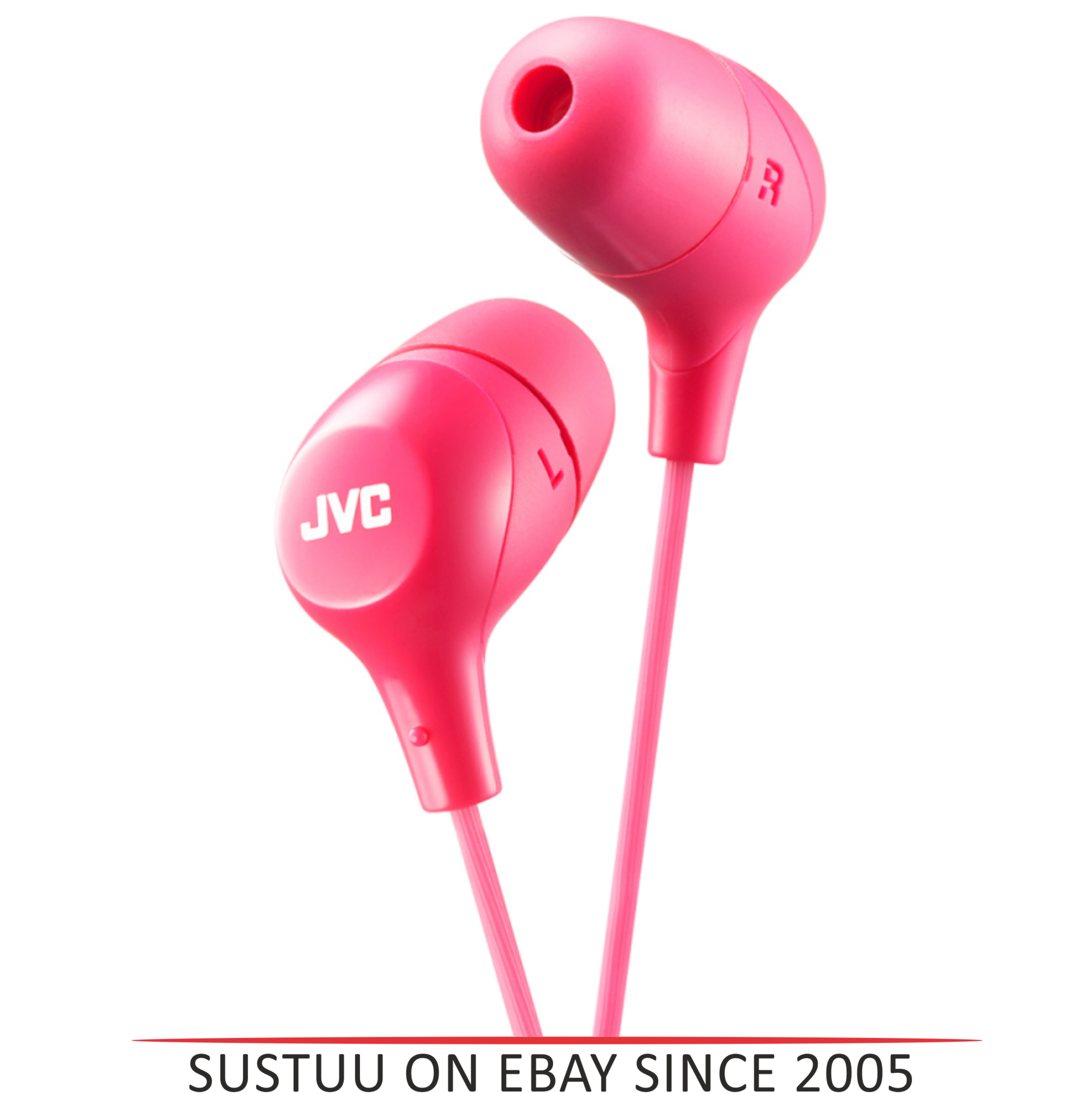 JVC HAFX38P Marshmallow Custom Fit Powerful Sound In-Ear Headphones - Pink