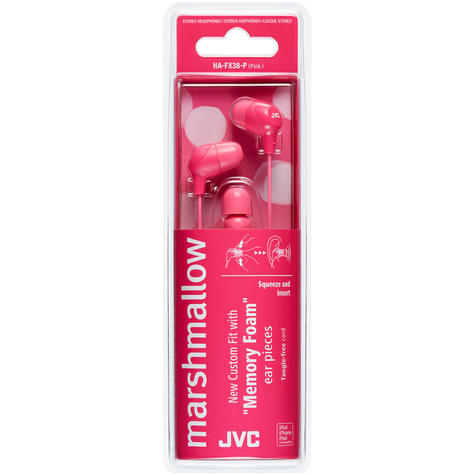 JVC HAFX38P Marshmallow Custom Fit Powerful Sound In-Ear Headphones - Pink Thumbnail 3