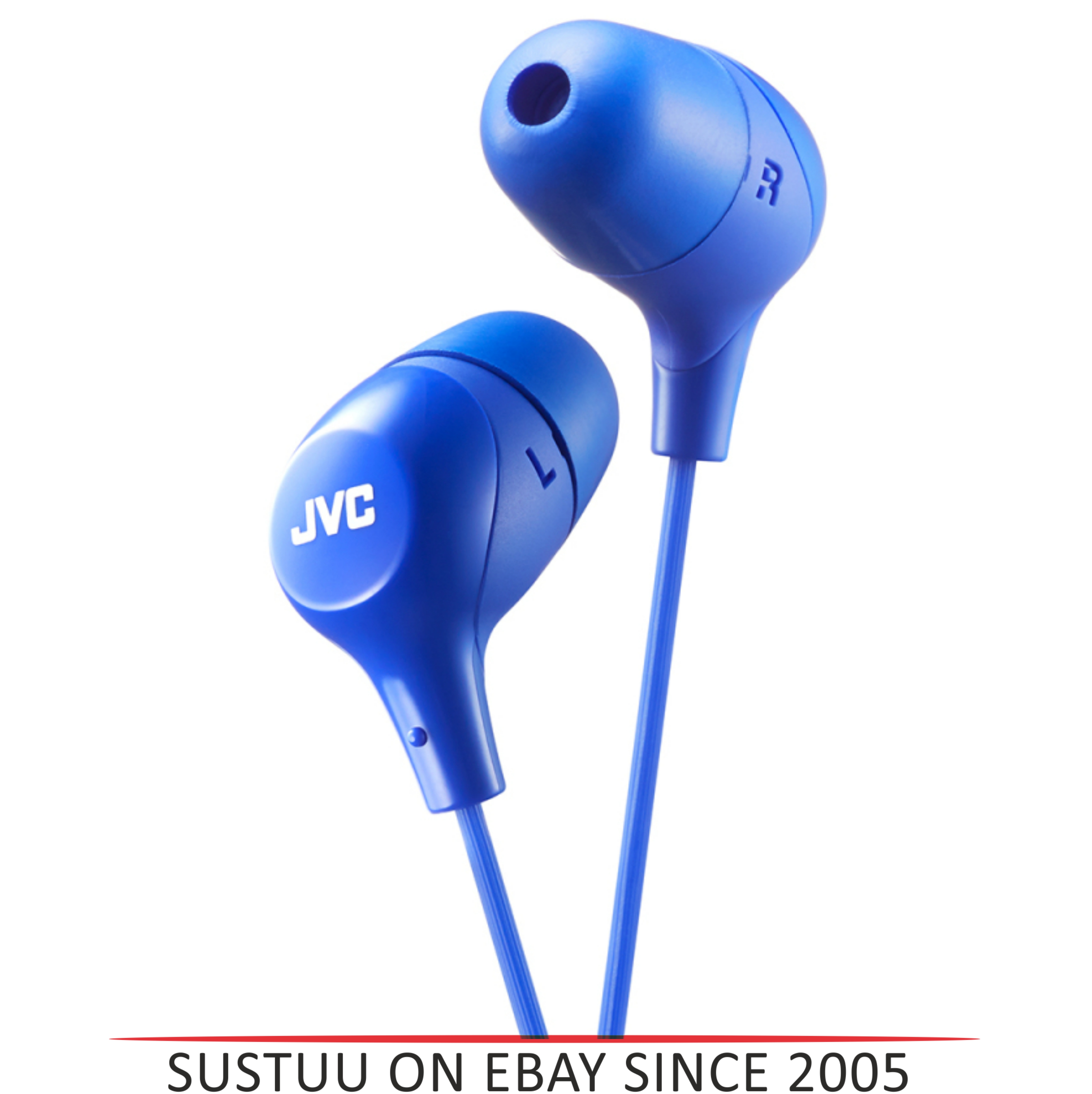 JVC HAFX38A Marshmallow Custom Fit Powerful Sound In-Ear Headphones - Blue