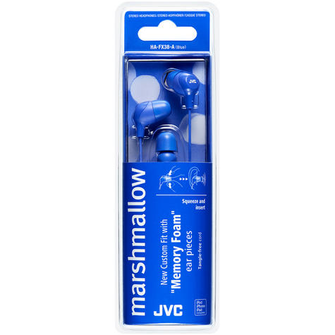 JVC HAFX38A Marshmallow Custom Fit Powerful Sound In-Ear Headphones - Blue Thumbnail 2