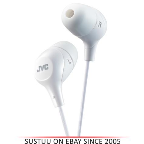 JVC HAFX38W Marshmallow Custom Fit Powerful Sound In-Ear Headphones - White Thumbnail 1