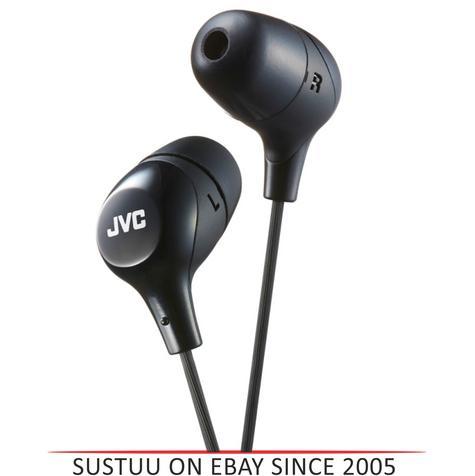 JVC HAFX38B Marshmallow Custom Fit Powerful Sound In-Ear Headphones - Black Thumbnail 1