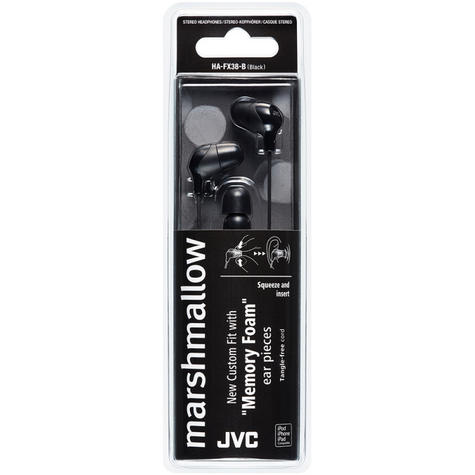 JVC HAFX38B Marshmallow Custom Fit Powerful Sound In-Ear Headphones - Black Thumbnail 3