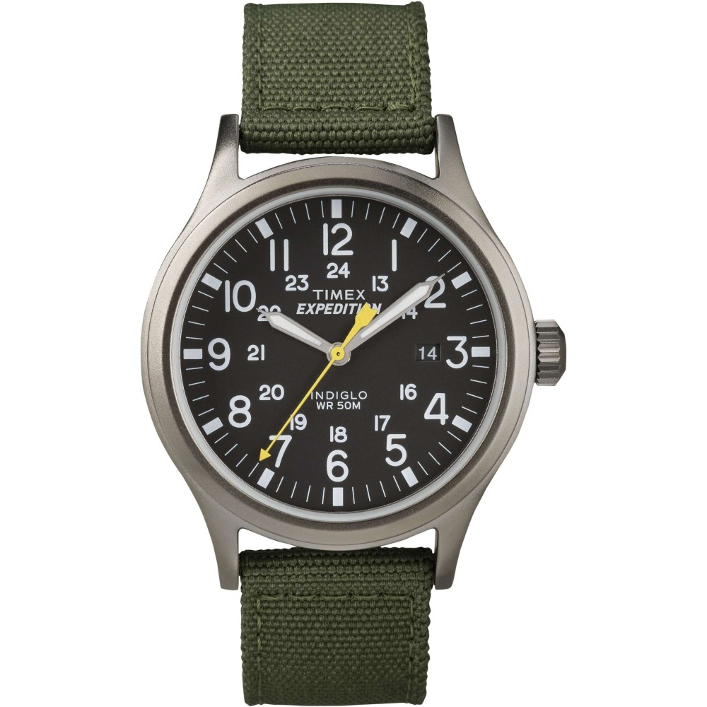 Timex T49961 Mens Expedition Watch|Indiglo Night Light|Date|Nylon strap - Green