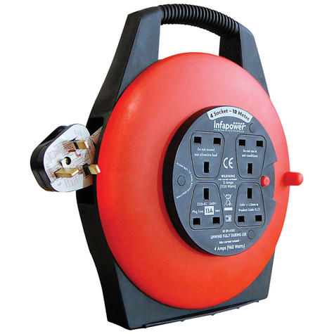 Infapower X812 New Enclosed Drum|4 Socket|13 Amp|10 Mtr|Tough Plug|Rotate Handle Thumbnail 1