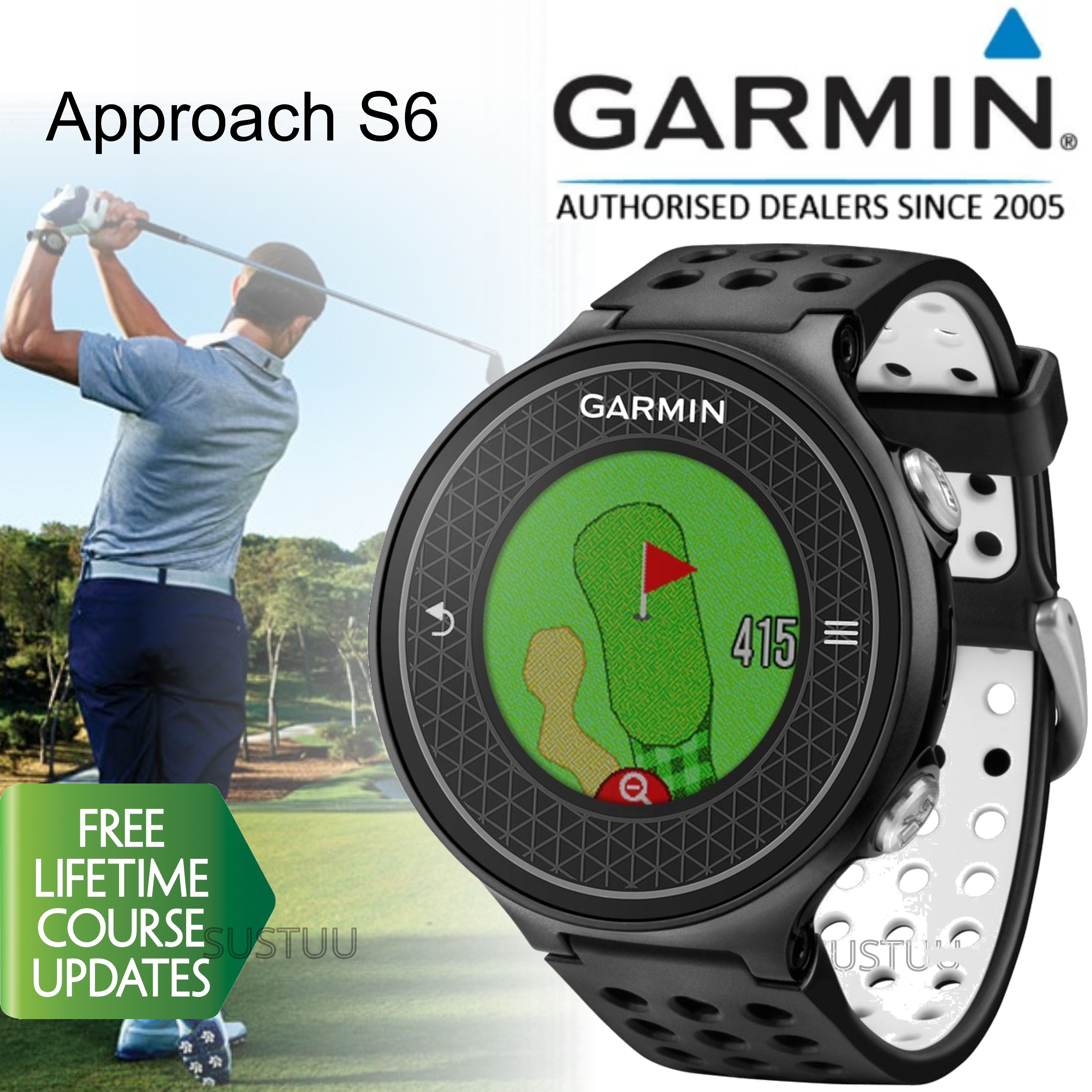 Garmin Approach S6 | GPS Rangefinder Golf Watch | 38000 Worldwide Golf Courses | Black