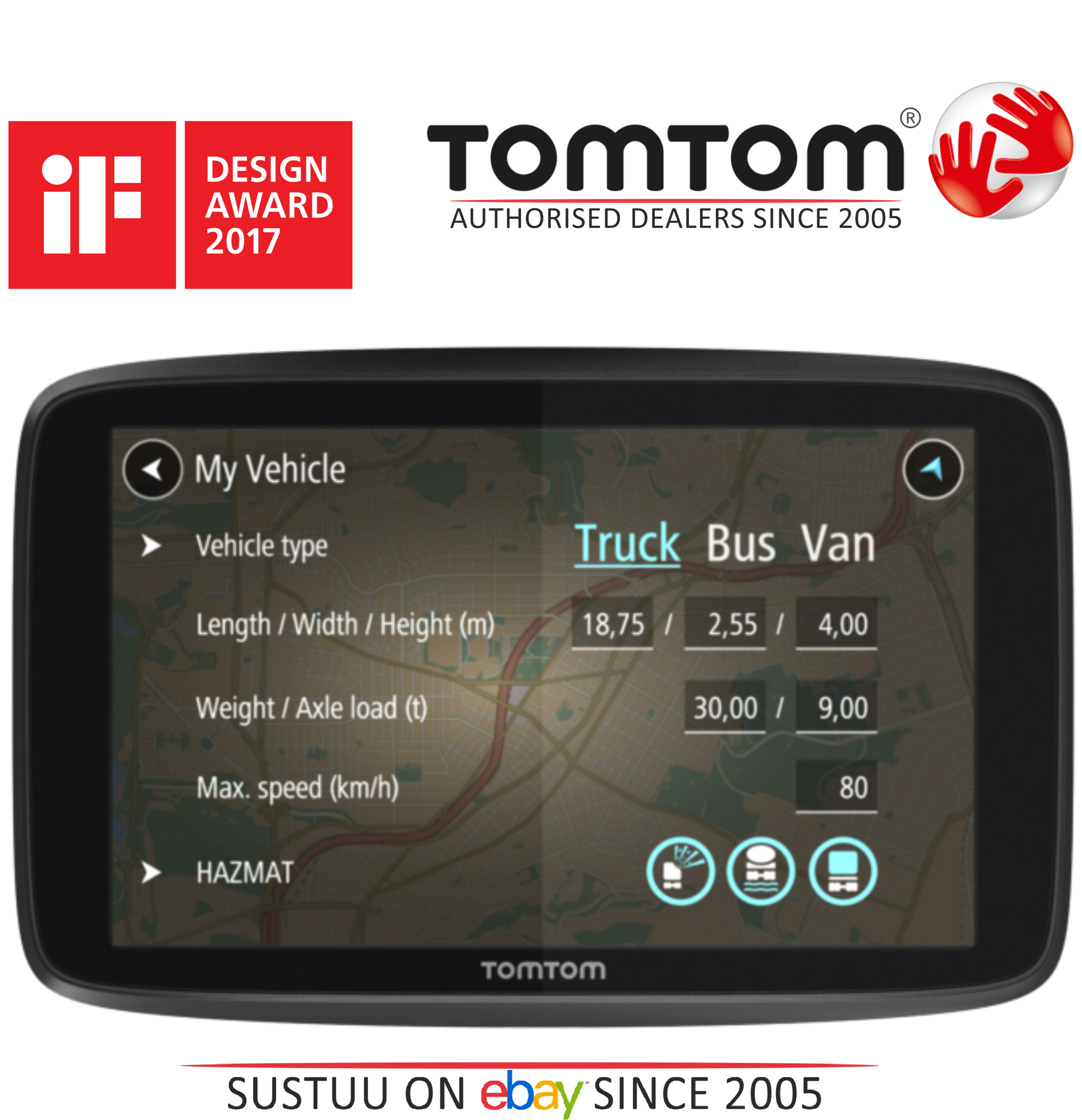 tomtom go professional 6250 trucker van bus gps lifetime traffic maps update sustuu. Black Bedroom Furniture Sets. Home Design Ideas